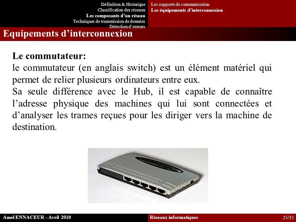 Le commutateur: le commutateur (en anglais switch) est un élément matériel qui permet de relier plusieurs ordinateurs entre eux. Sa seule différence a