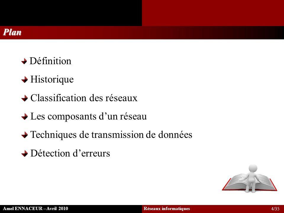 A suivre: le multiplexage … Amel ENNACEUR – Avril 2010 Réseaux informatiques Définition & Historique Classification des réseaux Les composants dun réseau Techniques de transmission de données Détection derreurs 35/35
