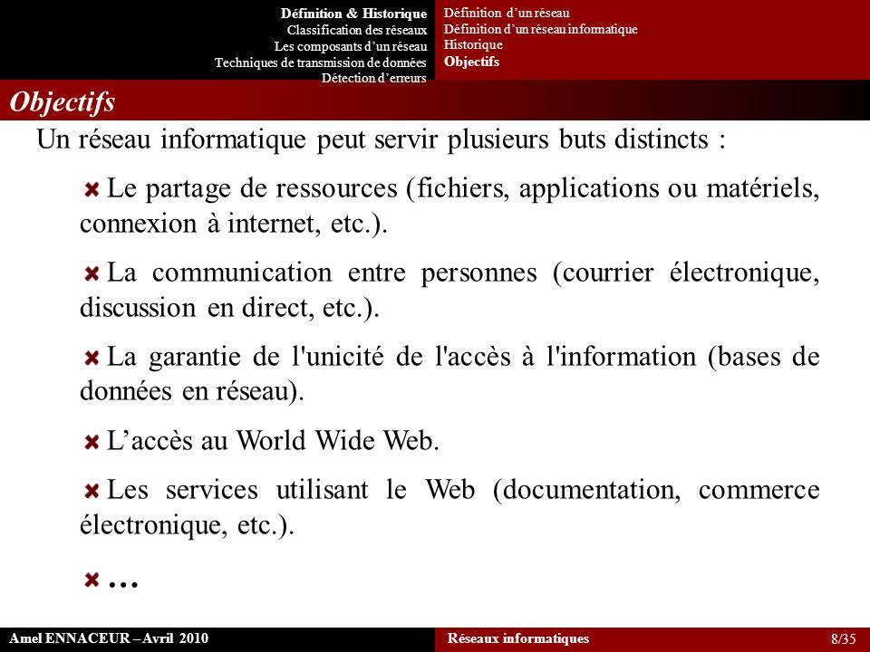 Objectifs Un réseau informatique peut servir plusieurs buts distincts : Le partage de ressources (fichiers, applications ou matériels, connexion à int