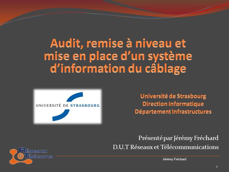 - Remerciments - Historique de lUniversité de Strasbourg - La direction Informatique - Le réseau OSIRIS - Le projet - Les différentes étapes du projet : - Phase 1 : pré-étude des locaux techniques - Phase 2 : identification, relevé, ré-étiquetage - Phase 3 : Préparation des remises à neuf - Phase 4 : Installation des nouveaux équipements - Avant et après - Travaux supplémentaires - Conclusion 2 Jérémy Fréchard