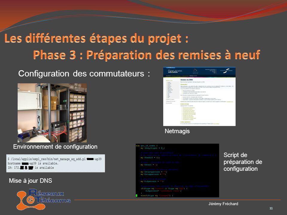 Configuration des commutateurs : 12 Jérémy Fréchard Les deux dernières étapes sont la mise a jour de radius et la mise a jour de lOS du commutateur.