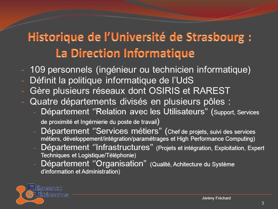 - Créé en 1988 - Environ 120 bâtiments desservies - Les deux premiers réseaux : Administration et Enseignements - Plus de 200 sous-réseaux actuellements - Plusieurs partenariats : 6 Jérémy Fréchard