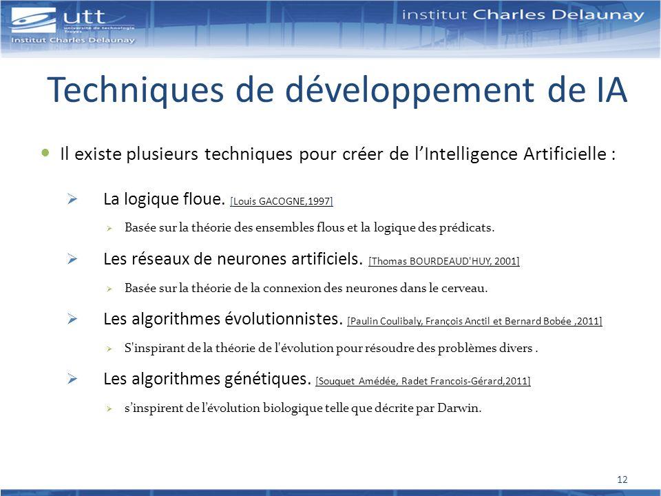 Techniques de développement de IA Il existe plusieurs techniques pour créer de lIntelligence Artificielle : La logique floue. [Louis GACOGNE,1997] Bas