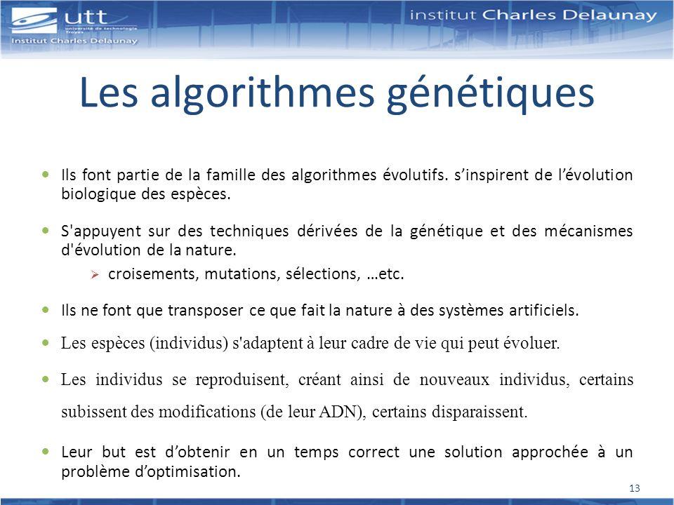 Les algorithmes génétiques Ils font partie de la famille des algorithmes évolutifs. sinspirent de lévolution biologique des espèces. S'appuyent sur de