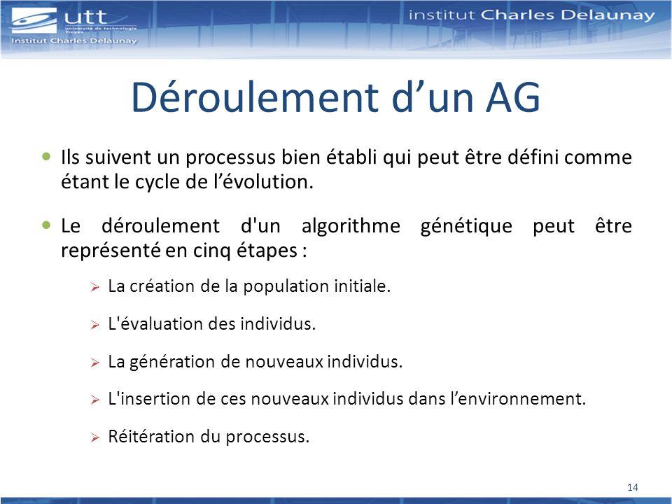 Déroulement dun AG Ils suivent un processus bien établi qui peut être défini comme étant le cycle de lévolution. Le déroulement d'un algorithme généti