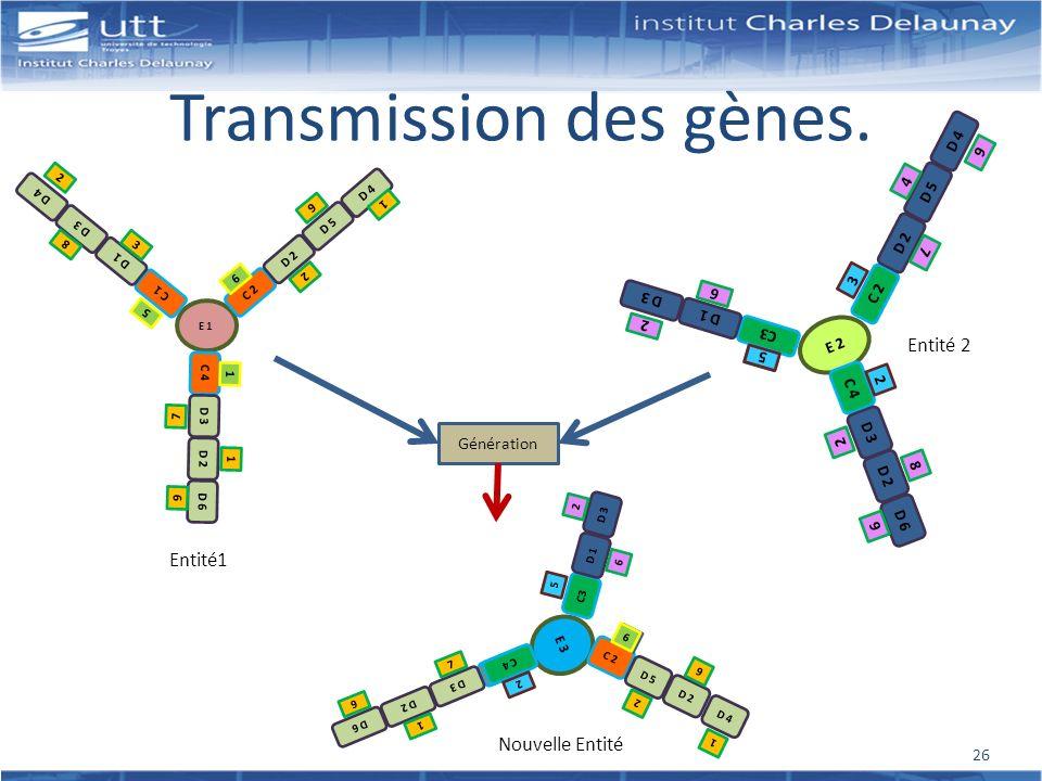 Transmission des gènes. E 1 C 1 D 1 D 3 D 4 C 2 D 2 D 5 D 4 3 8 2 9 2 1 5 C 4 D 3 D 2 D 6 7 1 9 1 6 Entité1 E 2 C 2 D 2 D 5 D 4 C3 D 1 D 3 9 2 P 4 7 6