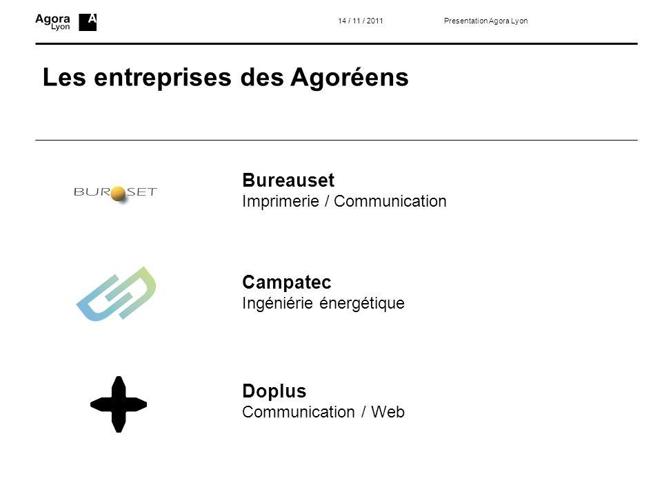 Les entreprises des Agoréens 14 / 11 / 2011 Bureauset Imprimerie / Communication Campatec Ingéniérie énergétique Doplus Communication / Web Presentati