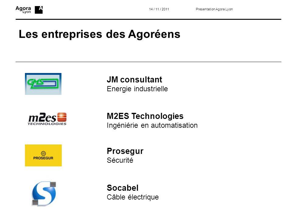 Les entreprises des Agoréens 14 / 11 / 2011 JM consultant Energie industrielle M2ES Technologies Ingéniérie en automatisation Prosegur Sécurité Socabe