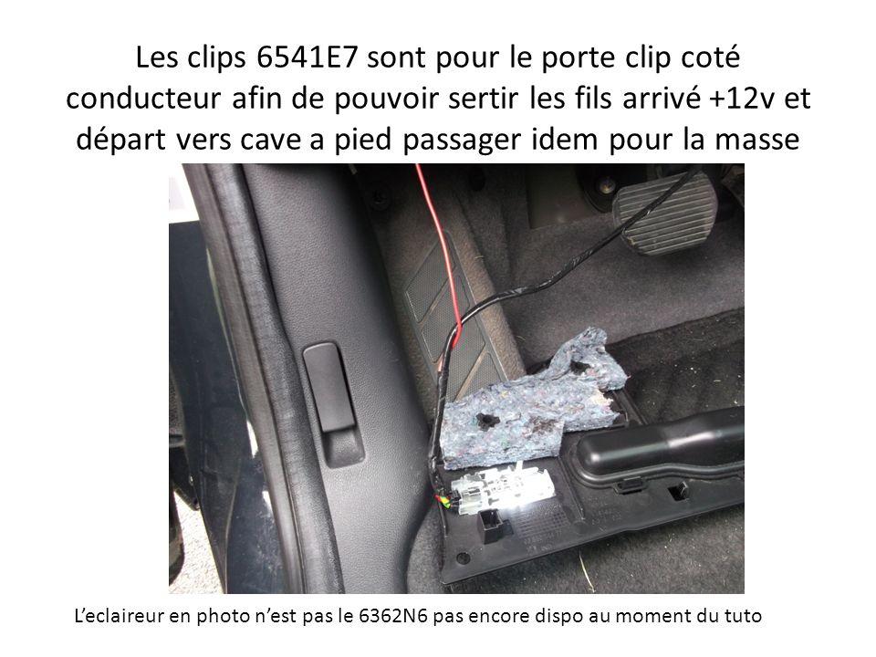 Les clips 6541E7 sont pour le porte clip coté conducteur afin de pouvoir sertir les fils arrivé +12v et départ vers cave a pied passager idem pour la