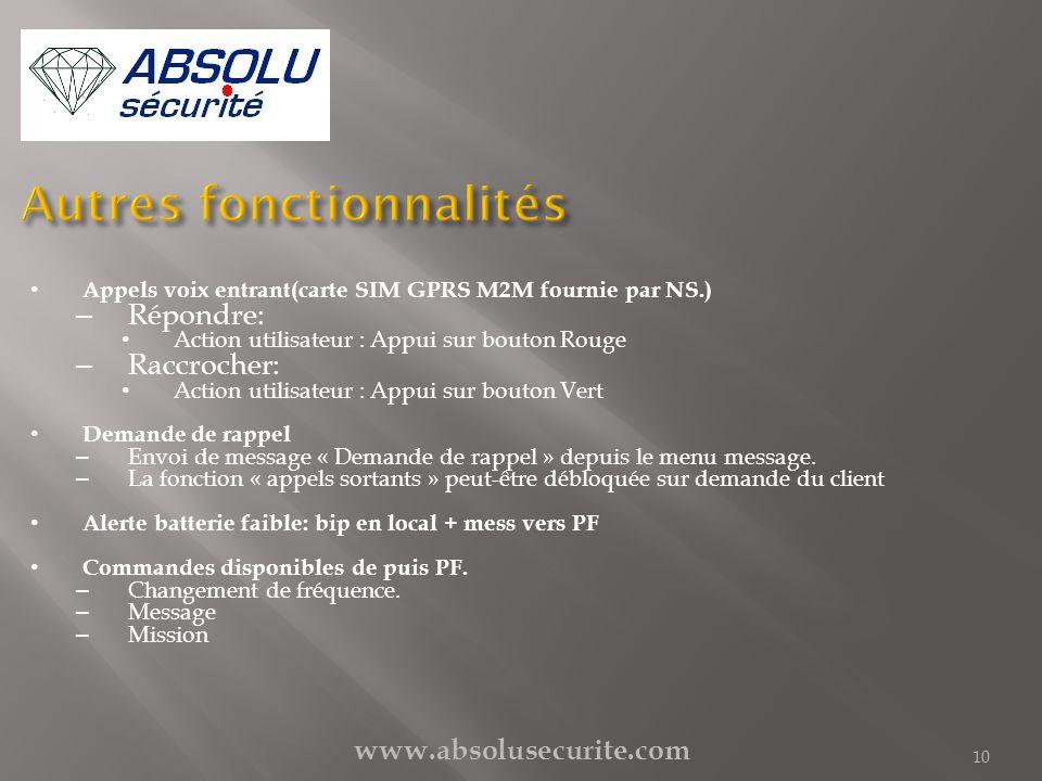 www.absolusecurite.com 10 Appels voix entrant(carte SIM GPRS M2M fournie par NS.) – Répondre: Action utilisateur : Appui sur bouton Rouge – Raccrocher