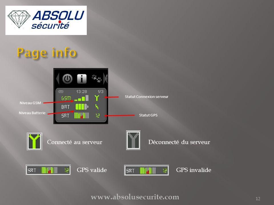 www.absolusecurite.com 12 Niveau Batterie Statut Connexion serveur Niveau GSM Statut GPS Connecté au serveurDéconnecté du serveur GPS valideGPS invali