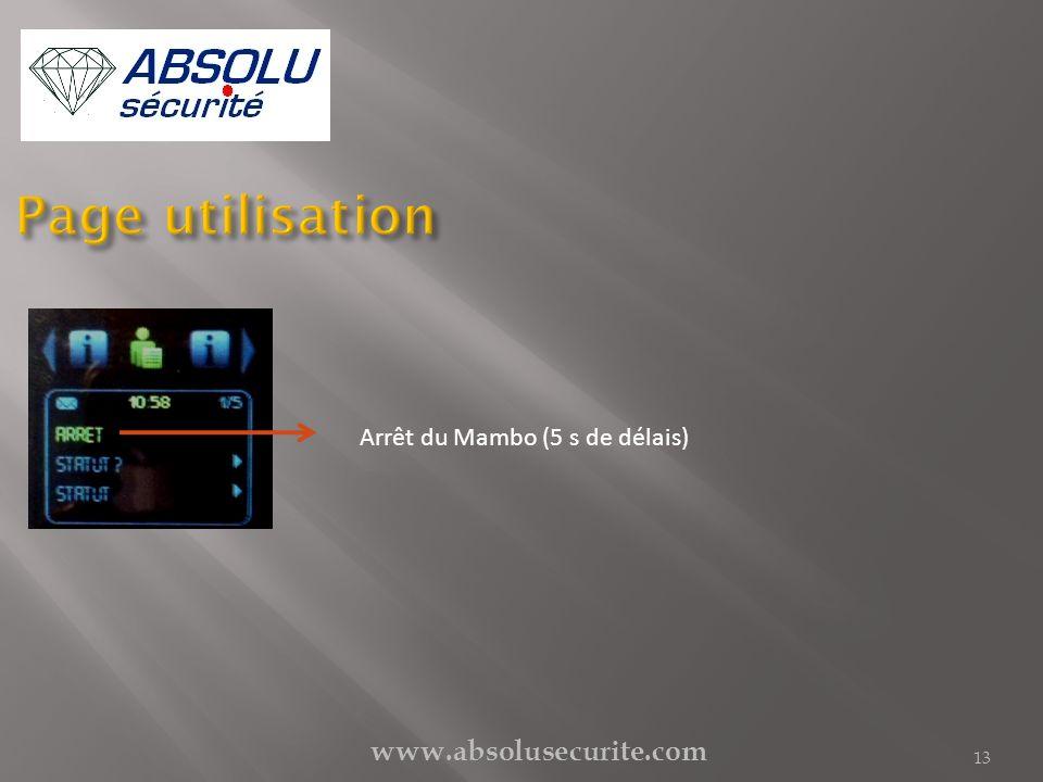 www.absolusecurite.com 13 Arrêt du Mambo (5 s de délais)