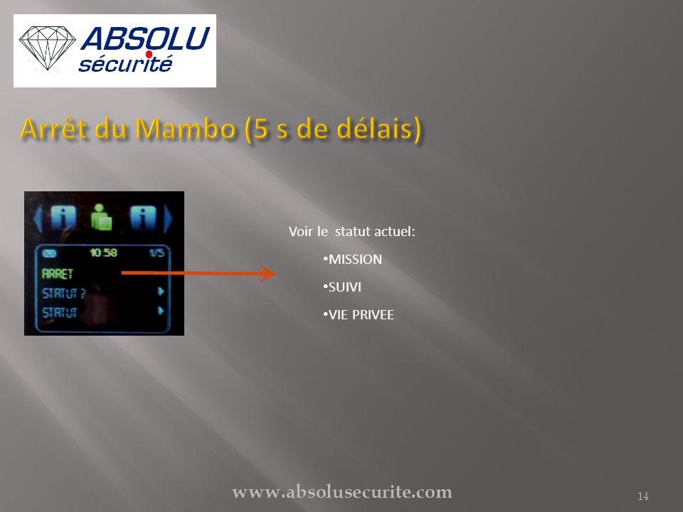 www.absolusecurite.com 14 Voir le statut actuel: MISSION SUIVI VIE PRIVEE