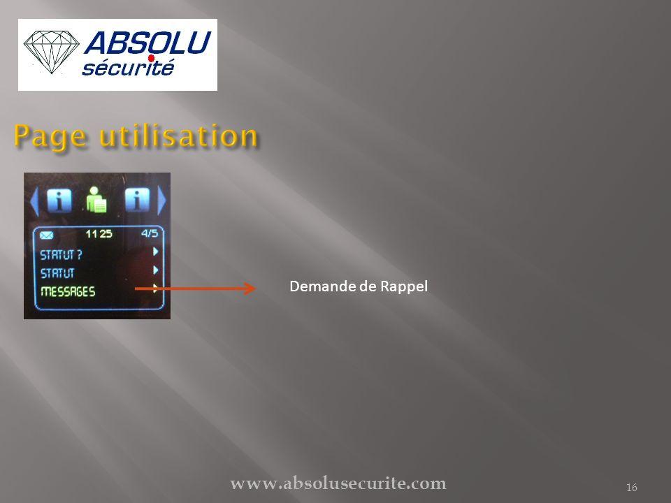 www.absolusecurite.com 16 Demande de Rappel