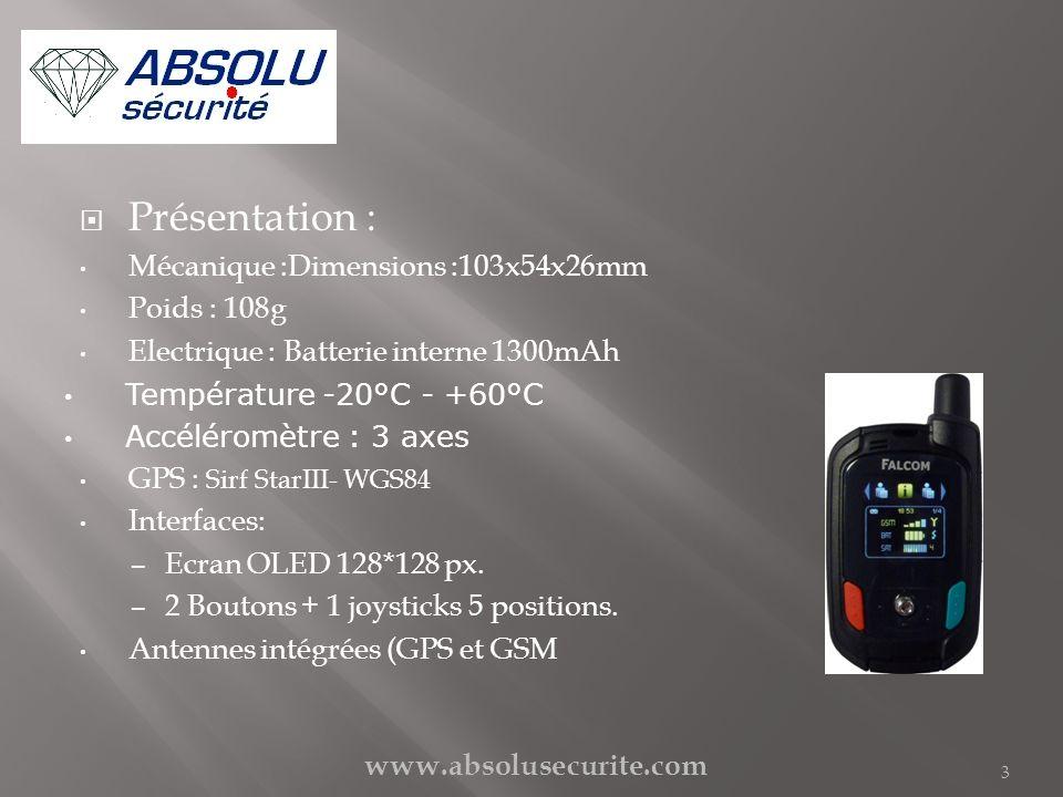 Présentation : Mécanique :Dimensions :103x54x26mm Poids : 108g Electrique : Batterie interne 1300mAh Température -20°C - +60°C Accéléromètre : 3 axes