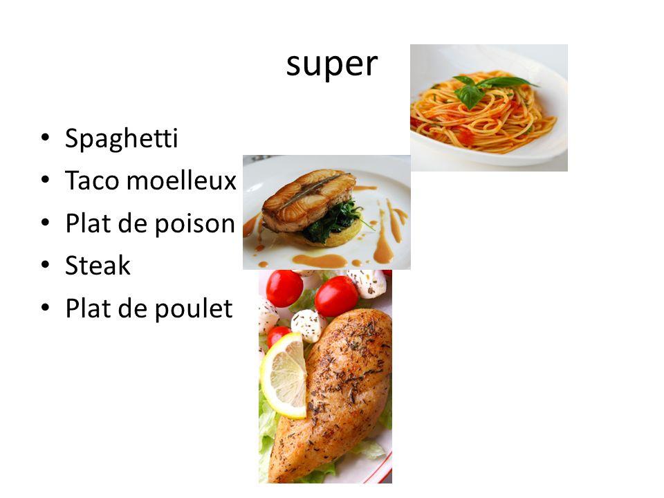 super Spaghetti Taco moelleux Plat de poison Steak Plat de poulet