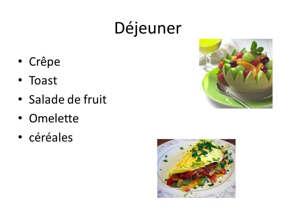 Déjeuner Crêpe Toast Salade de fruit Omelette céréales