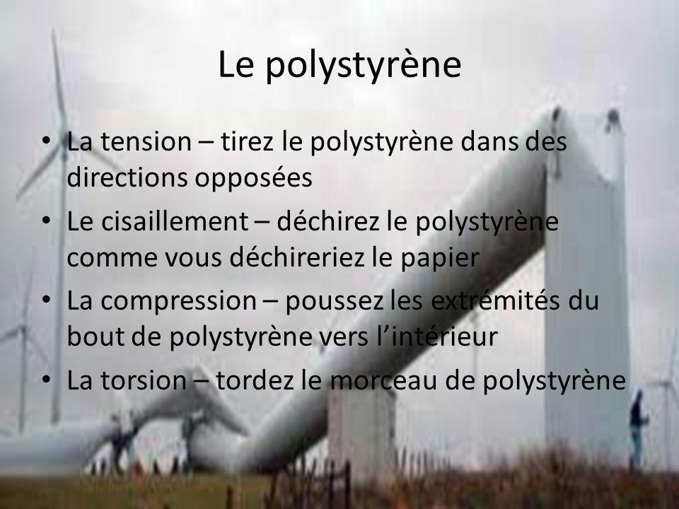 Le polystyrène La tension – tirez le polystyrène dans des directions opposées Le cisaillement – déchirez le polystyrène comme vous déchireriez le papier La compression – poussez les extrémités du bout de polystyrène vers lintérieur La torsion – tordez le morceau de polystyrène
