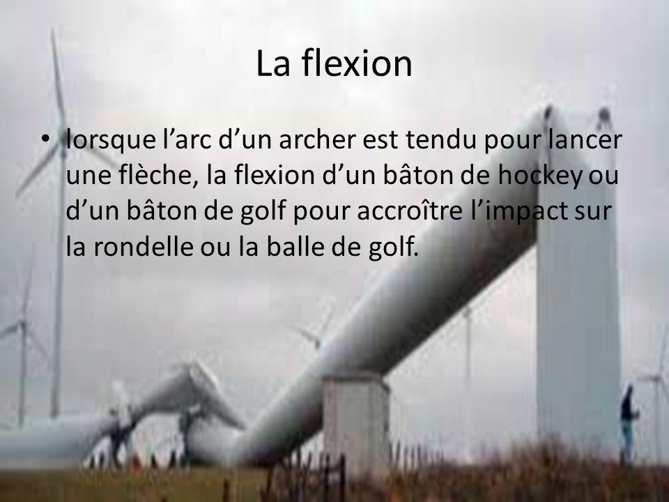 La flexion lorsque larc dun archer est tendu pour lancer une flèche, la flexion dun bâton de hockey ou dun bâton de golf pour accroître limpact sur la