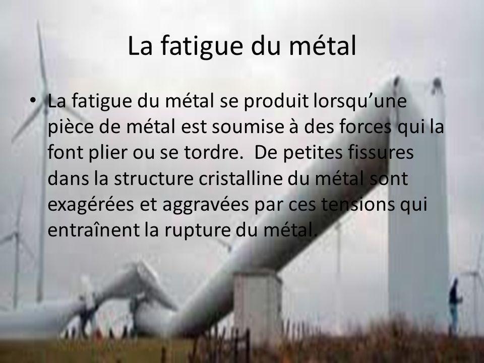 La fatigue du métal La fatigue du métal se produit lorsquune pièce de métal est soumise à des forces qui la font plier ou se tordre. De petites fissur
