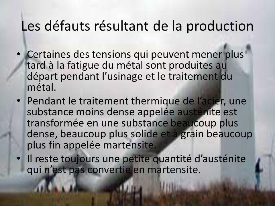 Les défauts résultant de la production Certaines des tensions qui peuvent mener plus tard à la fatigue du métal sont produites au départ pendant lusin