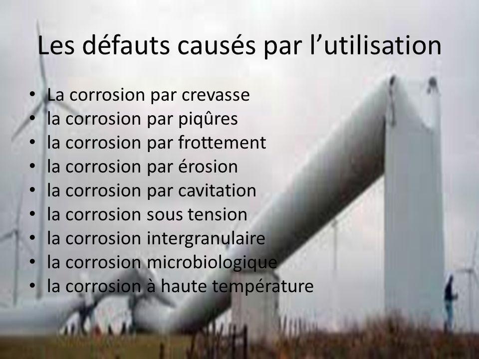 Les défauts causés par lutilisation La corrosion par crevasse la corrosion par piqûres la corrosion par frottement la corrosion par érosion la corrosion par cavitation la corrosion sous tension la corrosion intergranulaire la corrosion microbiologique la corrosion à haute température
