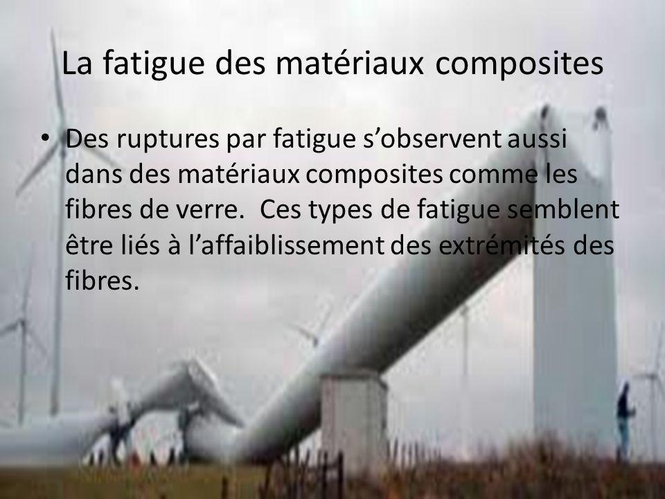 La fatigue des matériaux composites Des ruptures par fatigue sobservent aussi dans des matériaux composites comme les fibres de verre. Ces types de fa