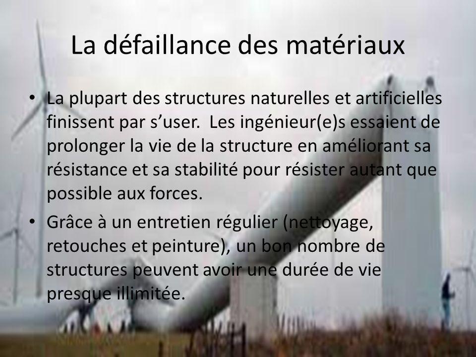 La défaillance des matériaux La plupart des structures naturelles et artificielles finissent par suser. Les ingénieur(e)s essaient de prolonger la vie