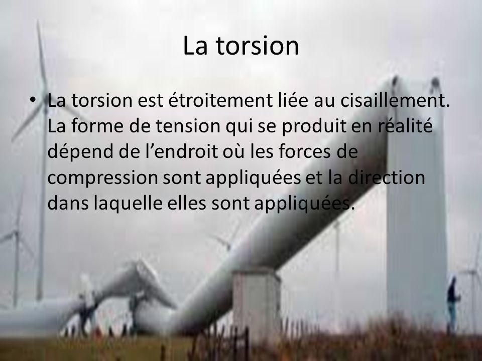 La torsion La torsion est étroitement liée au cisaillement. La forme de tension qui se produit en réalité dépend de lendroit où les forces de compress