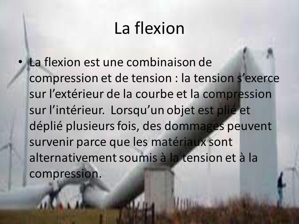 La flexion La flexion est une combinaison de compression et de tension : la tension sexerce sur lextérieur de la courbe et la compression sur lintérieur.