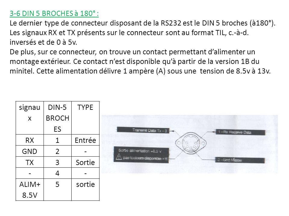 3-6 DIN 5 BROCHES à 180° : Le dernier type de connecteur disposant de la RS232 est le DIN 5 broches (à180°).
