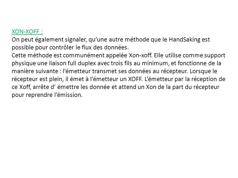 XON-XOFF : On peut également signaler, quune autre méthode que le HandSaking est possible pour contrôler le flux des données.