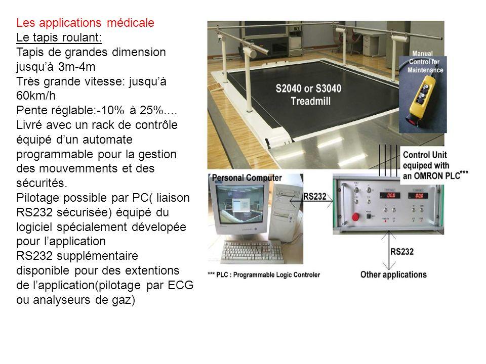 Les applications médicale Le tapis roulant: Tapis de grandes dimension jusquà 3m-4m Très grande vitesse: jusquà 60km/h Pente réglable:-10% à 25%....
