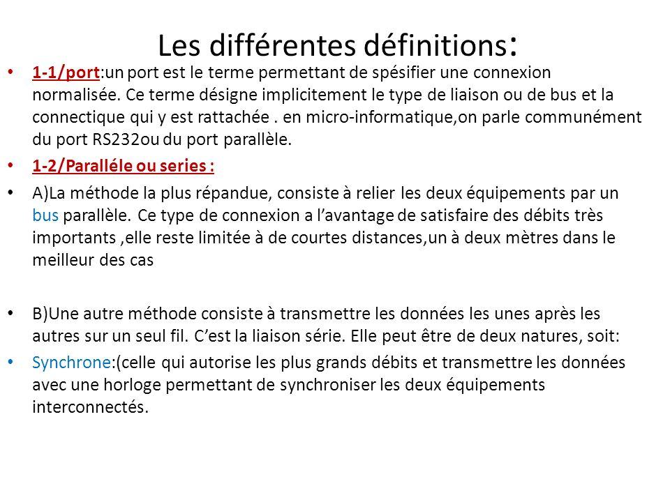 Les différentes définitions : 1-1/port:un port est le terme permettant de spésifier une connexion normalisée.