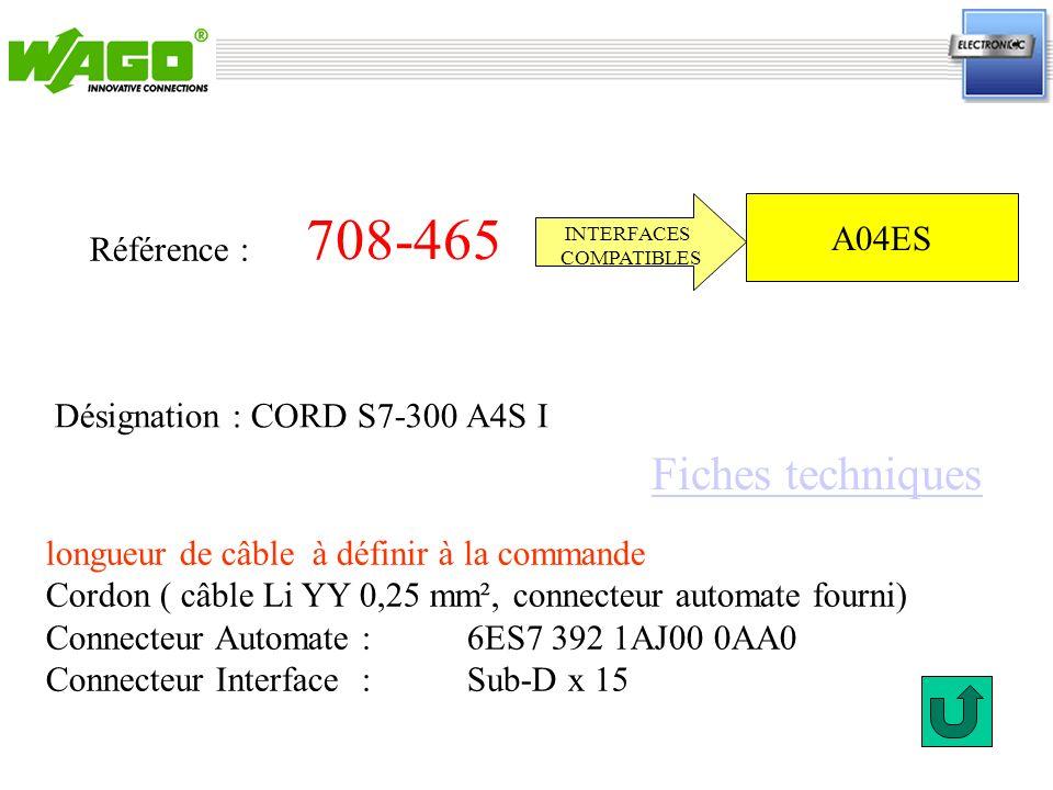 708-465 Référence : INTERFACES COMPATIBLES longueur de câble à définir à la commande Cordon ( câble Li YY 0,25 mm², connecteur automate fourni) Connec