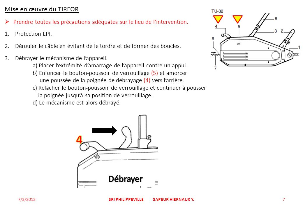 Mise en œuvre du TIRFOR Prendre toutes les précautions adéquates sur le lieu de lintervention. 1.Protection EPI. 2.Dérouler le câble en évitant de le