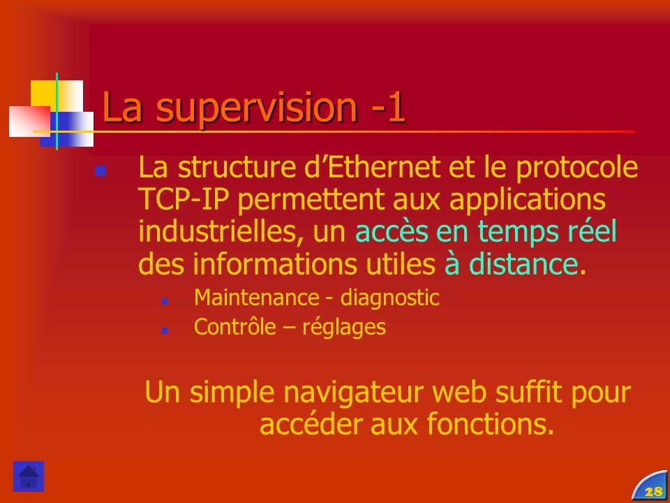 29 Communication Modbus Communication Internet La supervision -2 Serveur WEB Internet Passerelle TCP/IP - Modbus Configuration et diagnostics à distance des composants d automatisme Système Trivision A.