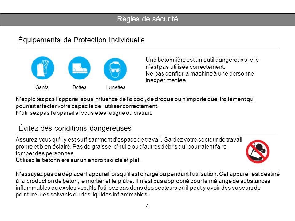 4 Contenu d'emballage Règles de sécurité Équipements de Protection Individuelle GantsBottesLunettes Une bétonnière est un outil dangereux si elle nest