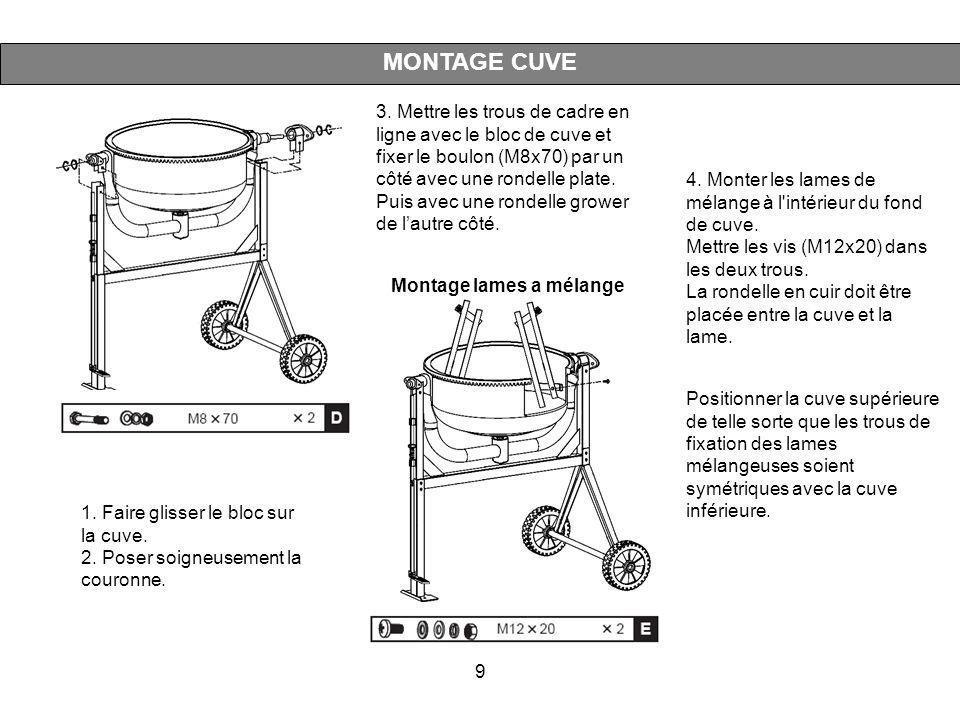 9 MONTAGE CUVE Montage lames a mélange 4. Monter les lames de mélange à l'intérieur du fond de cuve. Mettre les vis (M12x20) dans les deux trous. La r