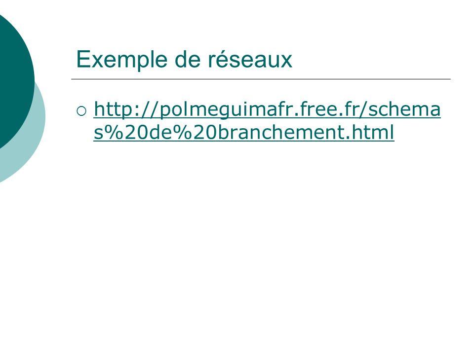 Exemple de réseaux http://polmeguimafr.free.fr/schema s%20de%20branchement.html http://polmeguimafr.free.fr/schema s%20de%20branchement.html