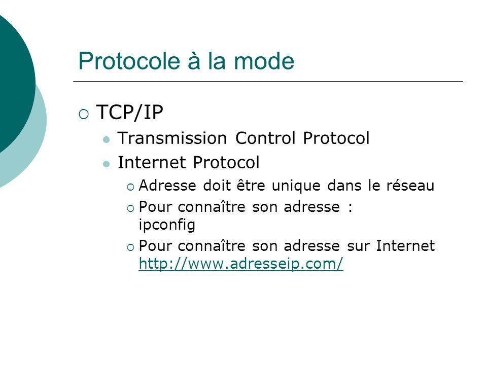 Protocole à la mode TCP/IP Transmission Control Protocol Internet Protocol Adresse doit être unique dans le réseau Pour connaître son adresse : ipconf