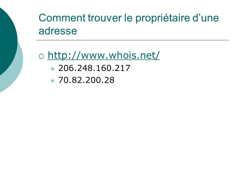 Comment trouver le propriétaire dune adresse http://www.whois.net/ 206.248.160.217 70.82.200.28
