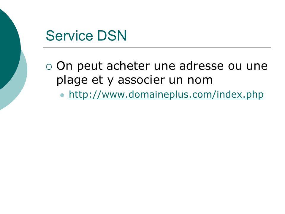 Service DSN On peut acheter une adresse ou une plage et y associer un nom http://www.domaineplus.com/index.php