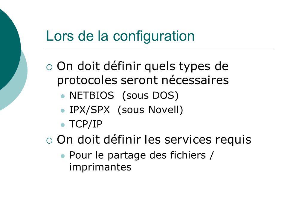 Lors de la configuration On doit définir quels types de protocoles seront nécessaires NETBIOS (sous DOS) IPX/SPX (sous Novell) TCP/IP On doit définir