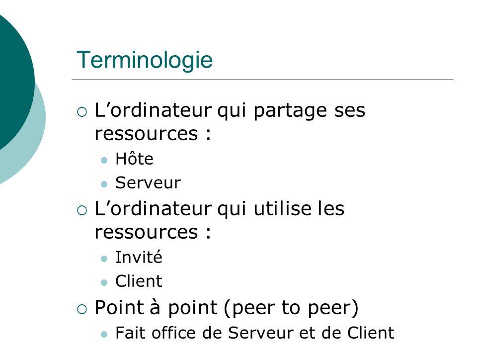 Terminologie Lordinateur qui partage ses ressources : Hôte Serveur Lordinateur qui utilise les ressources : Invité Client Point à point (peer to peer)