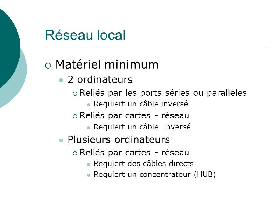 Réseau local Matériel minimum 2 ordinateurs Reliés par les ports séries ou parallèles Requiert un câble inversé Reliés par cartes - réseau Requiert un