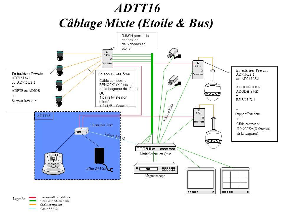 Commande SpeedDôme Ultra IV Installation en Extérieur Alimentation DeltaDome (Obligatoire) Commande DeltaDome II Installation en intérieur ADIOB (si 4 entrées/sorties nécessaires) OU ADPTB (si1 entrée/sortie nécessaire) EMBASE OBLIGATOIRE (Voir supports spécifiques) SUPPORT INTERIEUR (Facultatif si support standard suffit) Alimentation locale si câblage bus (PSU023) Boite de jonction 6 positions si câblage étoile (RJ6SN) Alimentation DeltaDome Obligatoire AD716LS-1(couleur) ou AD715LS-1(N&B) ADODH-CLR (Bulle transparente embase incluse) OU ADODH-SMK (Bulle Fumée embase incluse) Caisson extérieur (Obligatoire) (Voir supports spécifiques) SUPPORT EXTERIEUR (Obligatoire) Boite de jonction 1 position Ref: RJ1SNUD-1 + (7,5m de câble composite inclus) ref: RPNC0x (x dépend longueur) AD716LS-1(couleur) ou AD715LS-1(N&B)