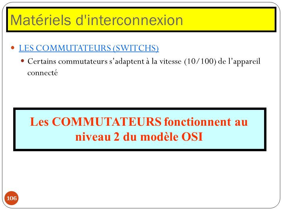 Matériels d'interconnexion 106 LES COMMUTATEURS (SWITCHS) Certains commutateurs sadaptent à la vitesse (10/100) de lappareil connecté Les COMMUTATEURS