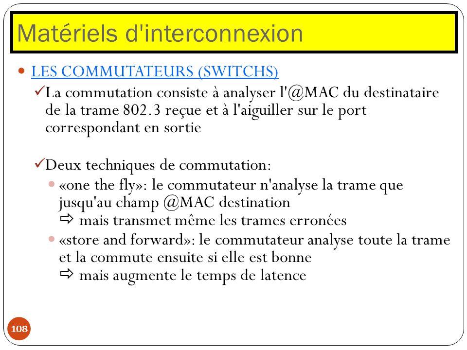 Matériels d'interconnexion 108 LES COMMUTATEURS (SWITCHS) La commutation consiste à analyser l'@MAC du destinataire de la trame 802.3 reçue et à l'aig