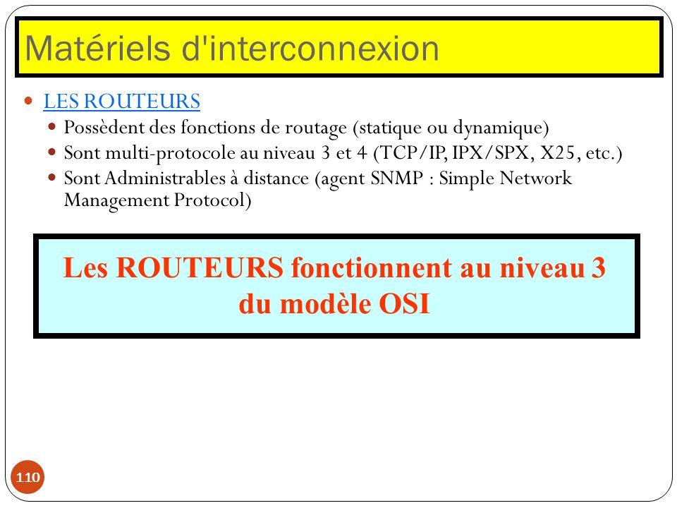 Matériels d'interconnexion 110 LES ROUTEURS Possèdent des fonctions de routage (statique ou dynamique) Sont multi-protocole au niveau 3 et 4 (TCP/IP,